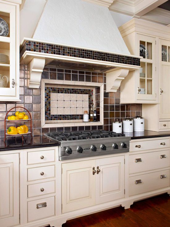 Kitchen backsplash ideas tile shelves and glass tiles Kitchen backsplash ideas bhg