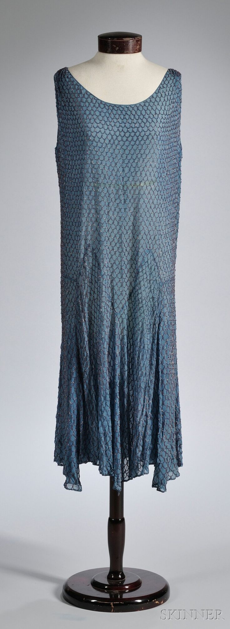 1920s fish scale patterned beaded evening dress