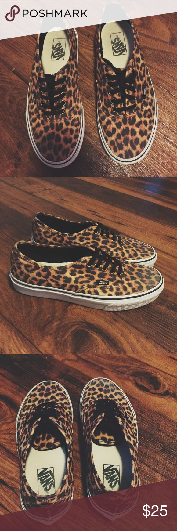 Leopard Print Vans Sneakers Super cute for the summer and versatile because leopard print is universal! There is a small smudge on the left toe but it is barely noticeable when worn. Vans Shoes Sneakers