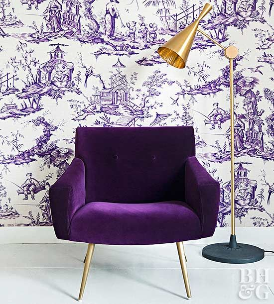 Find patterns with blue-tone purples that complement your home's existing style. For example, this white and purple toile wallpaper fits nicely in traditonal or vintage homes while incorporating trendy Ultra Violet. Geometric patterns fit with modern and contemporary styles, stripes complement preppy decor, and florals add to feminine home designs.