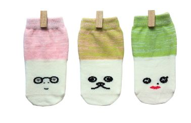 Petites Pattes - Faces Socks in Pink & Green