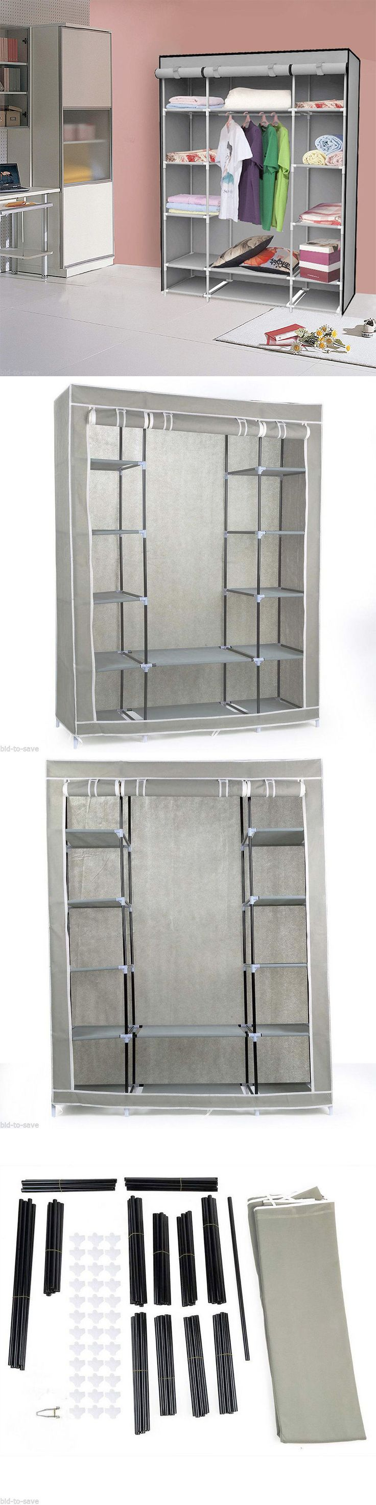 """household items: 53"""" Portable Closet Storage Organizer Wardrobe Clothes Rack With Shelves Grey -> BUY IT NOW ONLY: $35.71 on eBay!"""
