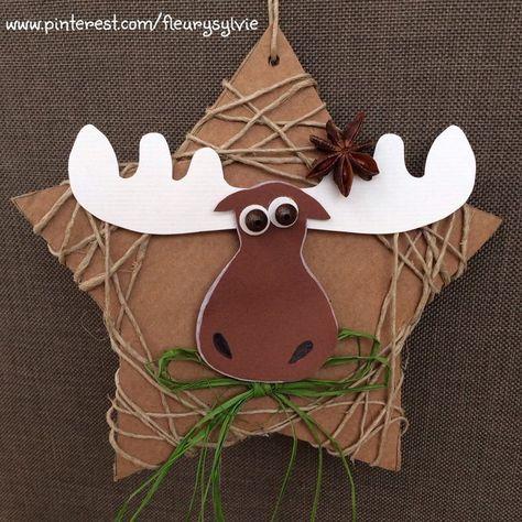 Renne de Noël avec une étoile en papier cartonné et de la ficelle. www.toutpetitrien.ch/bricos/ - fleurysylvie