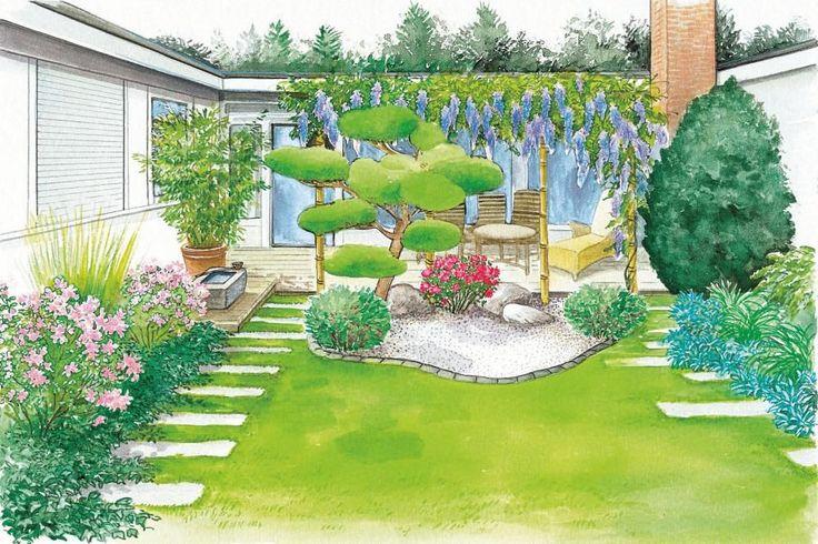 Unsere erste Gestaltungsidee ist ein Asia-Garten mit Bambuselementen