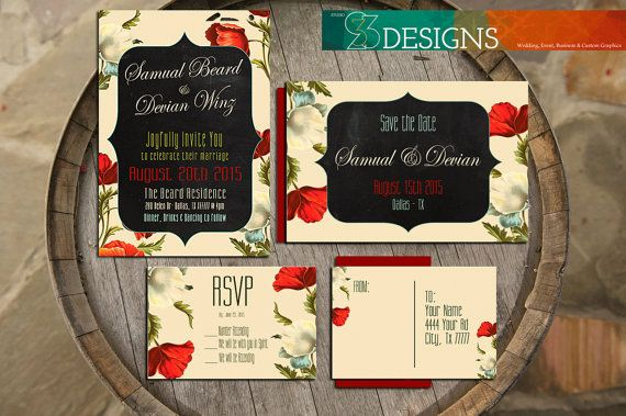 Vintage red poppy, chalkboard,  and rustic floral wedding suite. Custom DIY invitation set, Save the Date & RSVP.