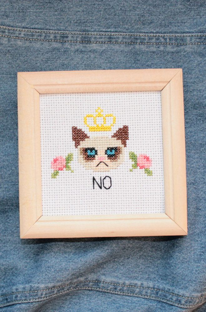 Grumpy cat cross stitch                                                                                                                                                     More