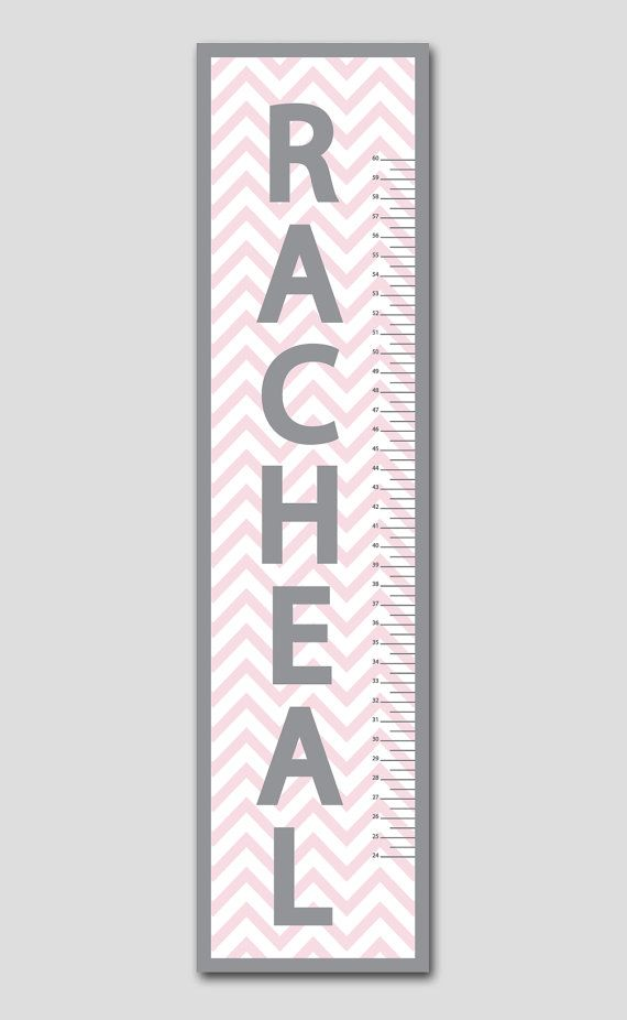 Personalized Pink & Grey Chevron Growth Chart-Vinyl Print, Growth Charts for Babies, Girl or Boy, Nursery and Children Decor on Etsy, $64.95