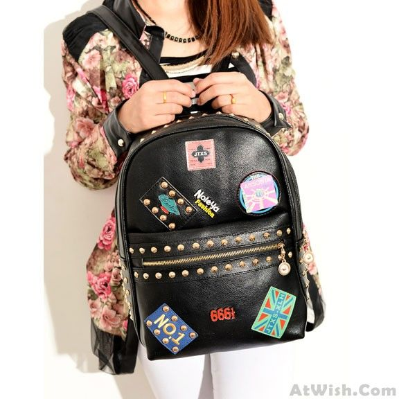 Wow~ Awesome Punk Lovely Rivets Badge School Backpack! It only $32.99 at www.AtWish.com! I like it so much<3<3!