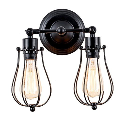 Wall Sconce Vintage style Industrial 2-Lights Black Mini Wire Cage Wall Light Retro LightingWall Sconce Vintage-Stil Industrial 2-Lights Schwarz Mini-Kabel-Käfig Wandleuchte Retro-Beleuchtung