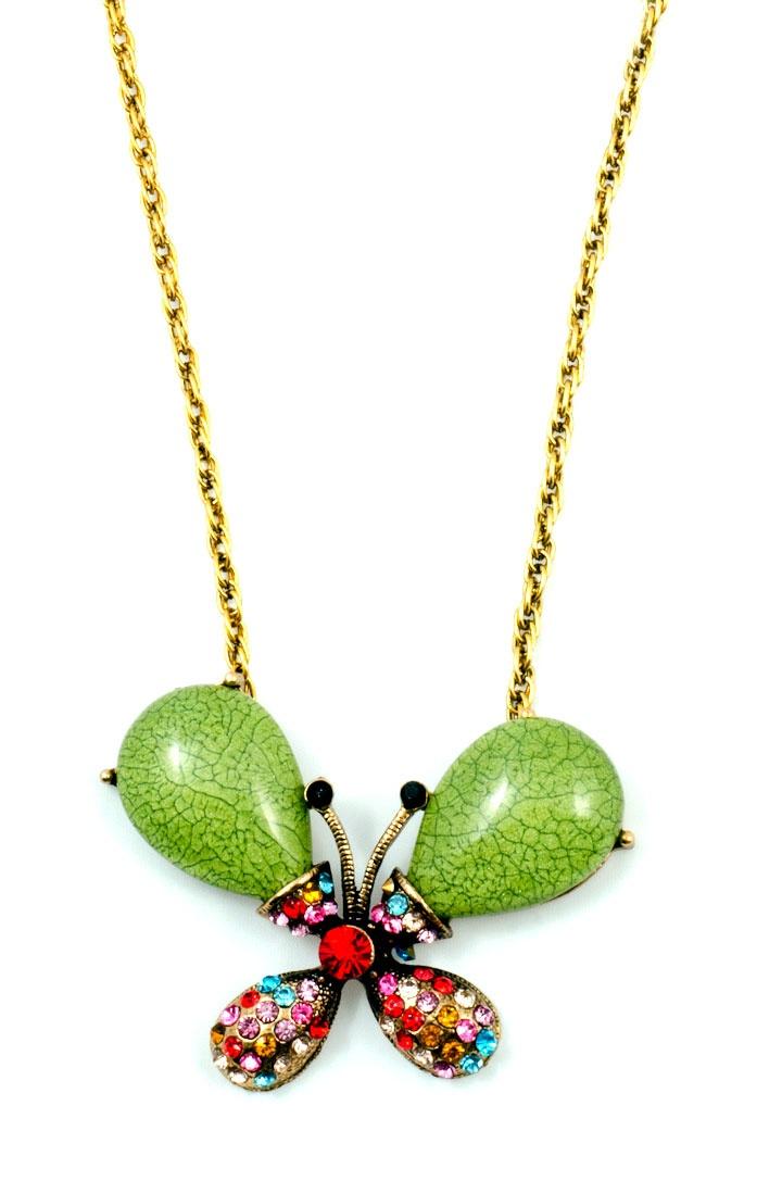 Πανατατιφ πεταλούδα μπρονζέ με πράσινη  πέτρα  και πολύχρωμες πέτρες τύπoυ ZWAROFSKI.