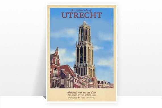 Retro Travel Poster The Netherlands Utrecht MANY SIZES