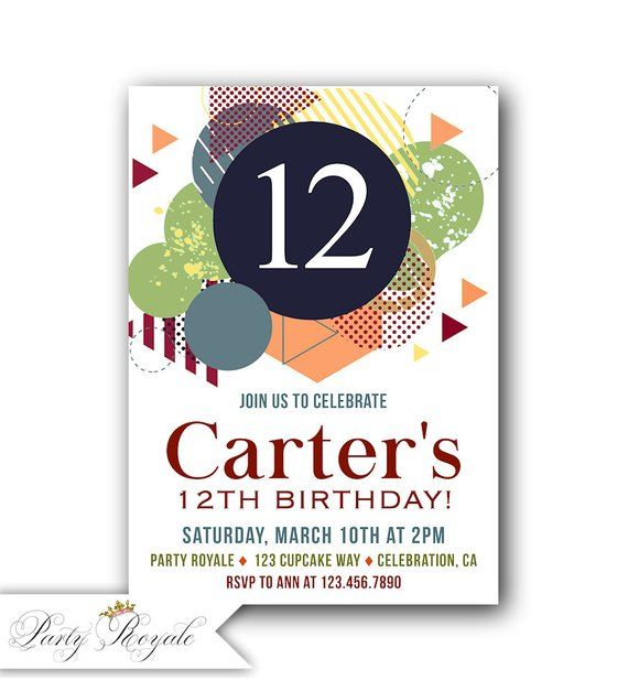 12th Birthday Invitation Boy Invite Boys Party Invitations Printable Invites For A