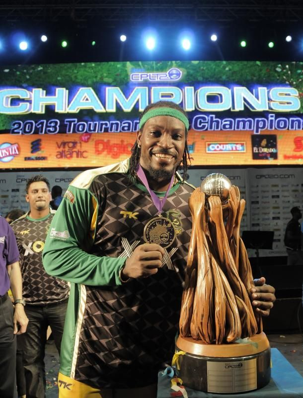 Chris Gayle Captain of the Jamaica Tallawahs takes the first CPL T20 trophy | CPLT20.com - Caribbean Premier League