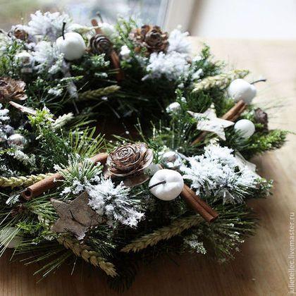 Рождественский венок Зимний лес - зелёный,рождественский венок,венок на дверь