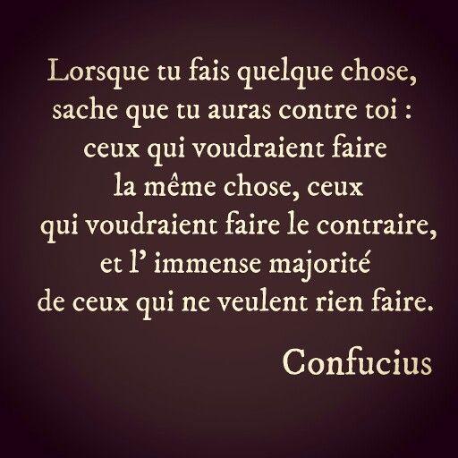 """""""....Lorsque tu fais quelque chose, sache que tu auras contre toi : ceux qui voudraient faire la même chose, ceux qui voudraient faire le contraire, et l' immense majorité de ceux qui ne veulent rien faire."""" Confucius"""