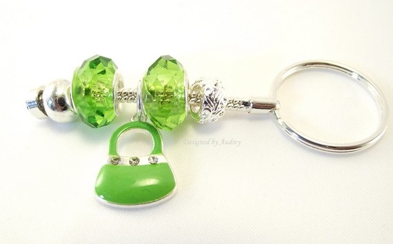 Green Crystal Key Ring With Cute Green Handbag by Designed By Audrey, $12.00