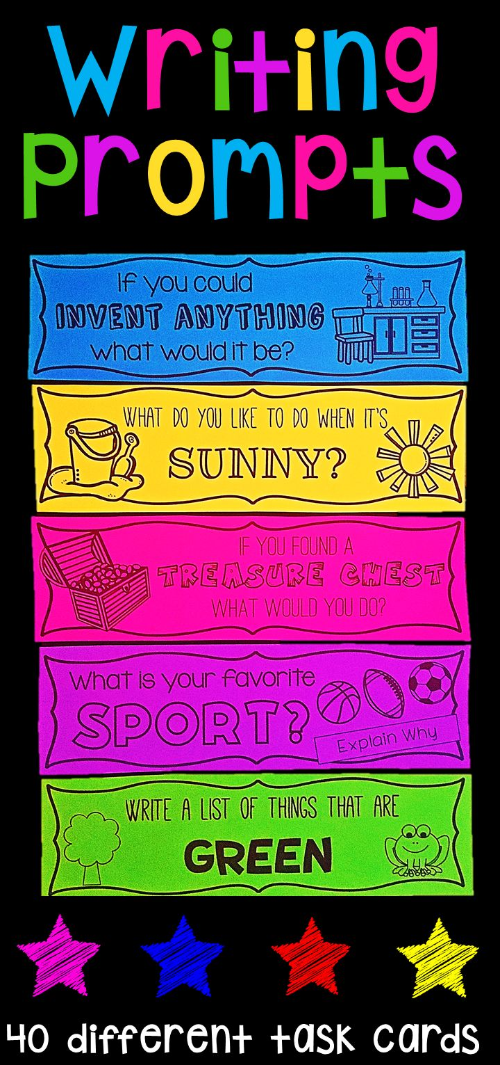 Writing Prompts. These task cards feature 40 different writing topics. They are great for literacy centers, writing stations, whole class lessons or fast finisher activities. The topics are diverse and include everyday topics, opinion topics, persuasive topics, would you rather etc. There are also acrostic poem activities and list writing.