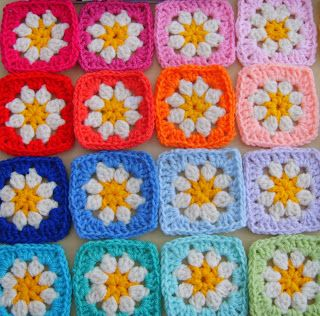 rainbow daisy grannies
