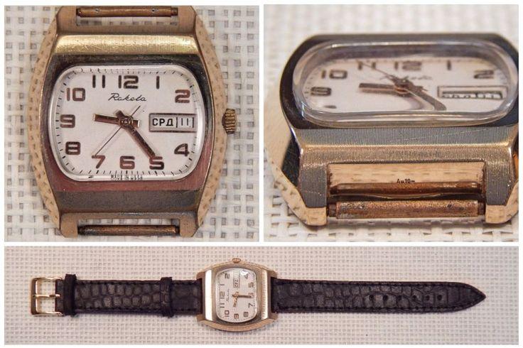 UDSSR Russisch RAKETA Uhr, Mechanische Herrenuhr, vergoldetes Gehäuse, 1980er
