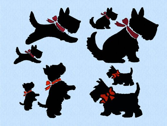 scottish terrier dog with bow jumping sitting standing walking 2 sizes machine. Black Bedroom Furniture Sets. Home Design Ideas