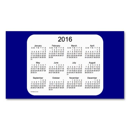 2016 navy blue calendar by janz business card pack of for Business card calendar