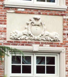 Cast Stone Ornamental Panels, Classic coat of arms design. See further designs,  http://www.stonelegends.com/signage.asp and http://www.stonelegends.com/art_gall1.asp