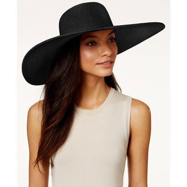 Nine West Packable Super Floppy Hat ($30) ❤ liked on Polyvore featuring accessories, hats, black, wide brim hat, nine west, wide brim sun hat, beach hat and floppy hat