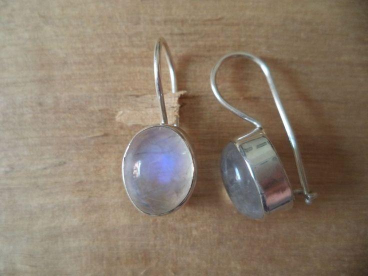 Ohrringe Silber 925 Sterlingsilber Regenbogenmondstein oval Hänger Weiß h01