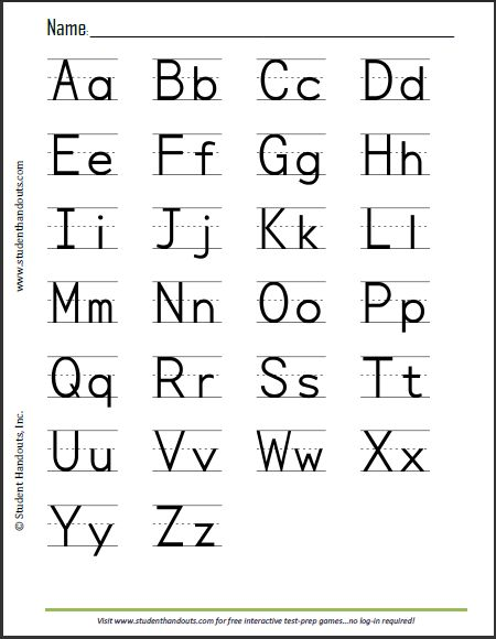 Free Printable Print Manuscript Handwriting Alphabet Handout for Kids...and a lot more!!