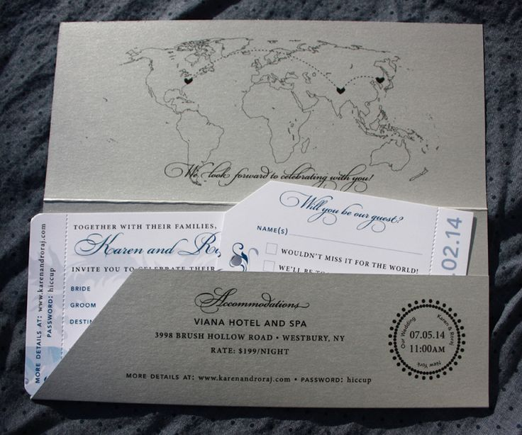 Silver & Blue World Map, Nepal & China Themed Boarding Pass Wedding Invitations