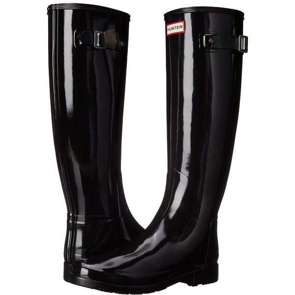 Hunter Original Refined Gloss Women's Rain Boots ($165) ❤ liked on Polyvore featuring shoes, boots, knee-high boots, white knee boots, knee high rain boots, slip on boots, waterproof rubber boots and hunter boots
