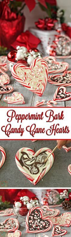 Peppermint Bark Candy Cane Hearts - such an easy and cute Christmas gift!   From OhNuts.com/blog