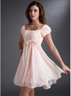 Special Occasion Dresses - $101.99 - A-Line/Princess Square Neckline Short/Mini Chiffon Satin Homecoming Dress With Ruffle Beading  http://www.dressfirst.com/A-Line-Princess-Square-Neckline-Short-Mini-Chiffon-Satin-Homecoming-Dress-With-Ruffle-Beading-022021033-g21033