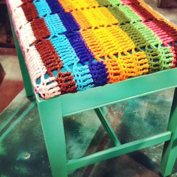 Repurposed afghan bench