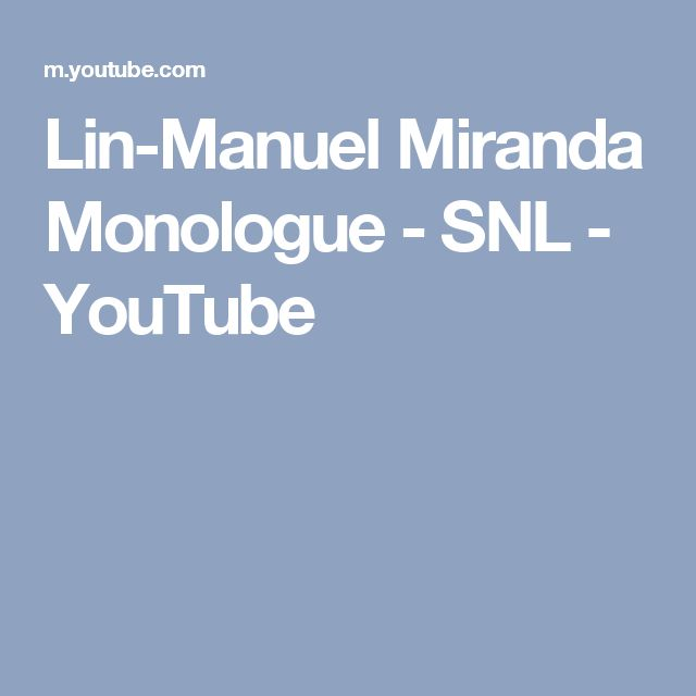Lin-Manuel Miranda Monologue - SNL - YouTube