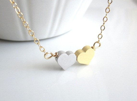 Double Heart Necklace  Mini Gold and Silver Heart  sweet by Yameyu, $23.00