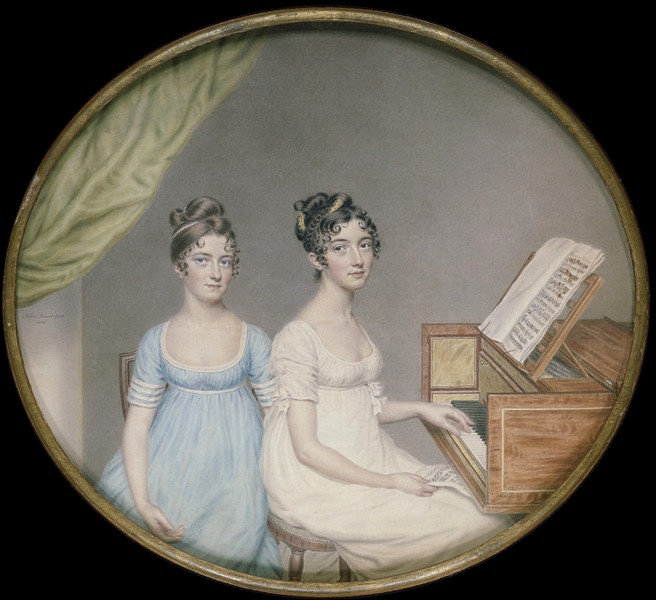 Miniature of Miss Harriet and Miss Elizabeth Binney by John Smart, Great Britain, circa 1806, watercolor on card