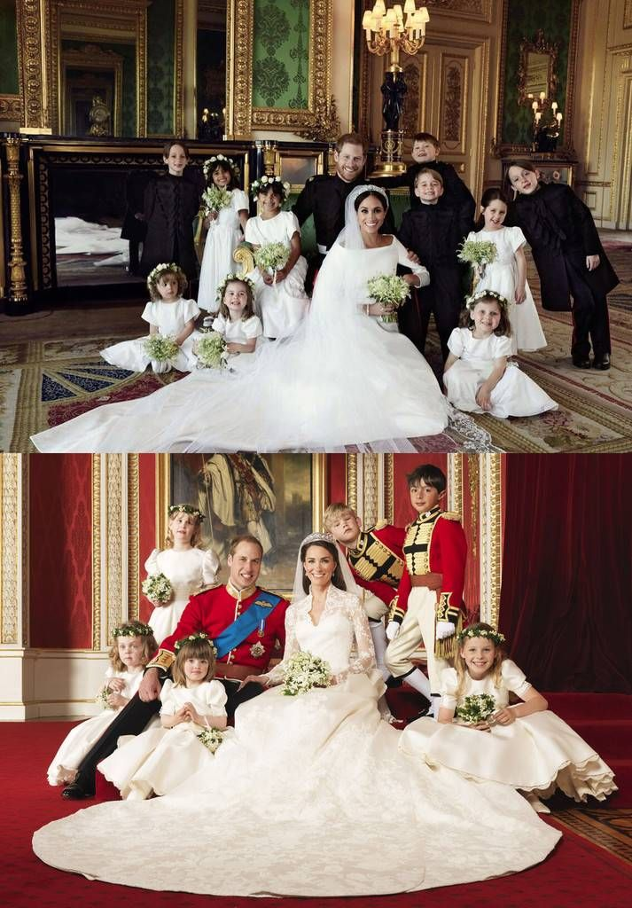 How Harry And Meghan S Royal Wedding Portraits Differ From William And Kate S E Online Harry And Meghan Wedding Royal Weddings Royal Brides