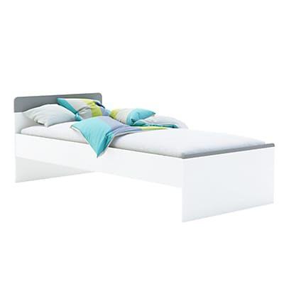 Lit 1 place blanc (90x200cm adaptable en 190cm)