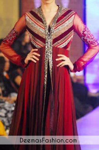 Deep Red Front Open Anarkali Pishwas | Latest Pakistani Fashion 2014 Bridal Dresses Formal Wear