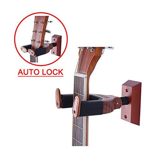 PUNK Guitar Wall Hanger Auto Lock Safety Wooden Wall Mount Holder, Classical, Electric, Acoustic, Guitar Bass Hanger - PUNK Guitar Wall Hanger Auto Lock Safety Wooden Wall Mount Holder, Classical, Electric, Acoustic, Guitar Bass Hanger