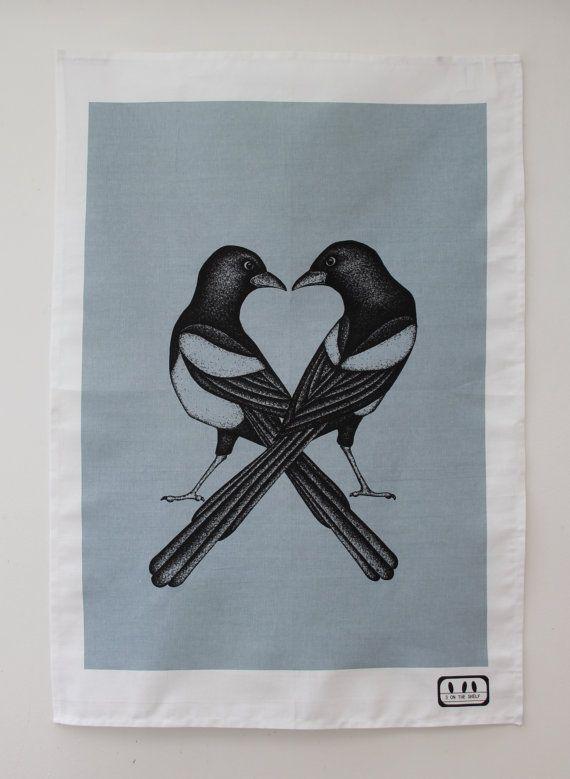 Grey/blue 'Two For Joy' Magpies Original Designer by 3OnTheShelf, £12.00