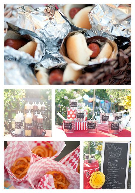 Legit, this is my exact wedding idea. Hot dogs with all the fixings & onion rings. YUM!!