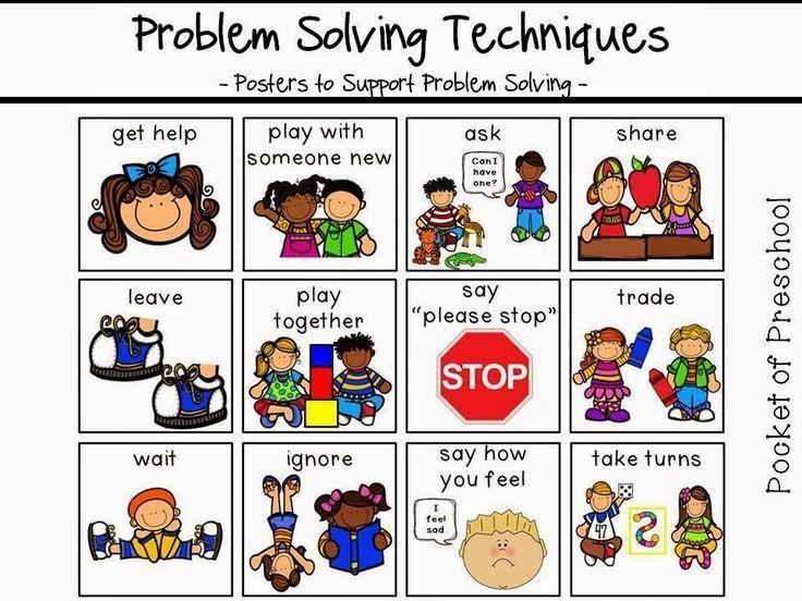 Posters to support problem solving and conflict resolution in preschool, pre-k, or kindergarten classrooms.  Pocket of Preschool