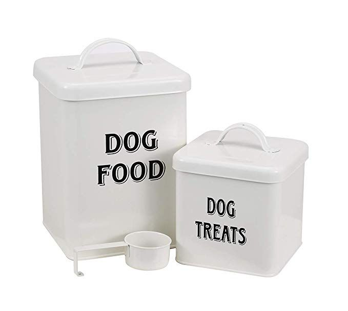 Dog Food And Treats Containers Set With Scoop For Dogs Vintage