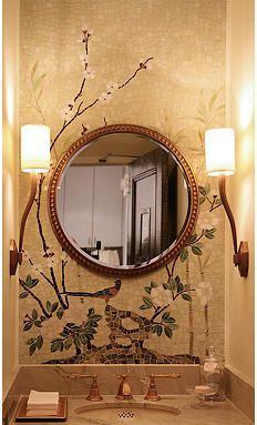 bathroom ceramic wall tile CHINOISERIE Cheryl Hazan mosaic