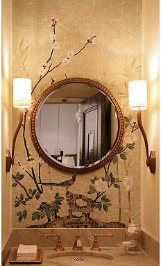 Bathroom ceramic wall tile CHINOISERIE Cheryl Hazan mosaic. What a wonderful idea... in a small bathroom/powder room, mosaic the whole wall...