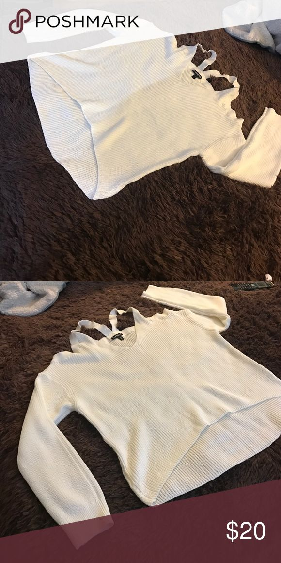 White off the shoulder sweater I have never worn it but it doesn't have the tags! Express Sweaters