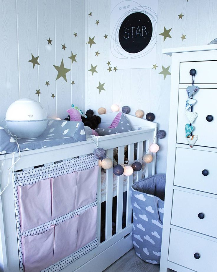 Nice modern #baby #cot in white inspired with Mediterranean nursery decor