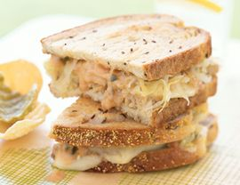 Vegan Tempeh Reubens- Tempeh: 1/4 cup bragg liquid aminos, 1 small onion, 2 garlic cloves, 1 bay leaf, 1 8 oz package tempeh Dressing: 1/4 cup vegan mayonnaise, 3 tbl relish, 2 tbl ketchup Other: 16 slices rye bread, 5 oz vegan monterey jack cheese, 2 cups sauerkraut